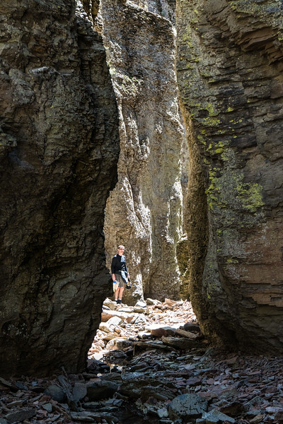 Way cool little slot canyon on river left  - Deep Creek
