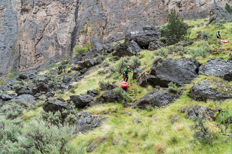 Cold and rainy portage around Owyhee Falls