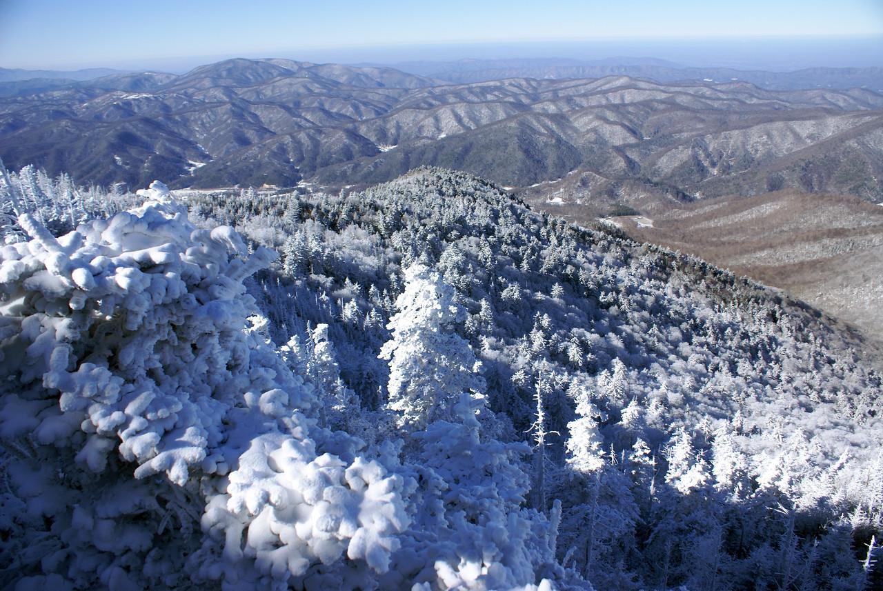 Lower bluff view from frozen Roan Mountain - looking toward Tennessee