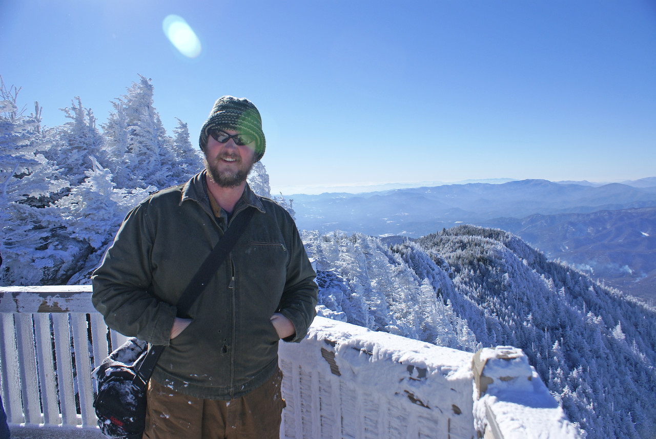 Tim Glenn on the deck of the upper bluff lookout on the Cloudland trail - Roan Mountain, winter 2008