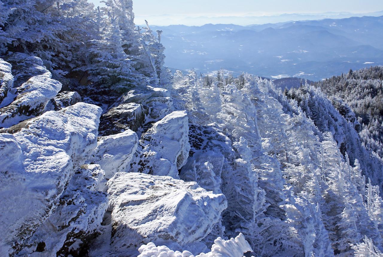 Rugged Frozen snowy rocks from the upper bluff - Roan Mountain