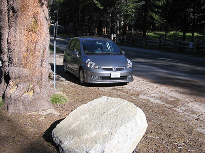 Our Honda Fit. A very capable and economical mountain car, and surprisingly good on the freeway too.