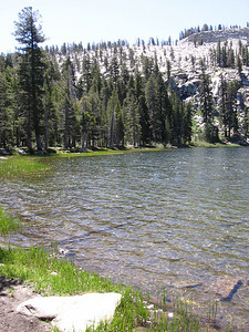 Weaver Lake in Jennie Lakes wilderness, looking south towards the ridge of Shell Mountain.