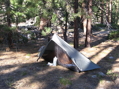 "Getting ready to break camp the following morning; my ""Bristlecone-brown"" Ray-Way quilt, which I was using for the first time on this trip, can be seen inside my Lunar Solo E. My camp here is along Roaring River about a mile northwest of the Roaring River summer-ranger station."