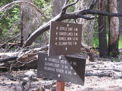 Trail junction; I was heading east towards Roaring River. The walking was very easy here in the bottom of Sugarloaf Valley.