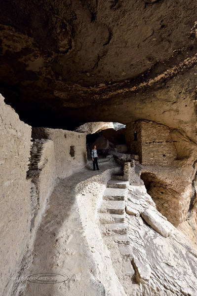NM-GCD20-2019.11.9#4005.2. Gila Cliff Dwellings. Mary Lou at the top of the exit out of the dwellings. Gila Wilderness, New Mexico.
