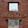 NM-SPM-Quarai3 2019.11.11#2860.1x. Header detail over a main door and window. Salinas Pueblo Mission Quarai. North of Mountainair, New Mexico.