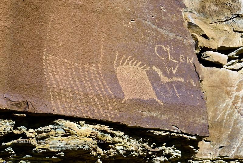 UT-NMC2017.10.7am11.17#266- Petroglyphs. Nine Mile Canyon Utah.