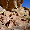 CO-MVNP2017.10.10-Step House#707. Notice the path of foot and hand holes carved in the large boulder left of the top of the ladder. Mesa Verde Nat. Park Colorado.