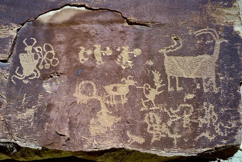 "UT-NMC2017.10.7am11.26#383- Petroglyph panel called ""The Juggler"".Nine Mile Canyon Utah."