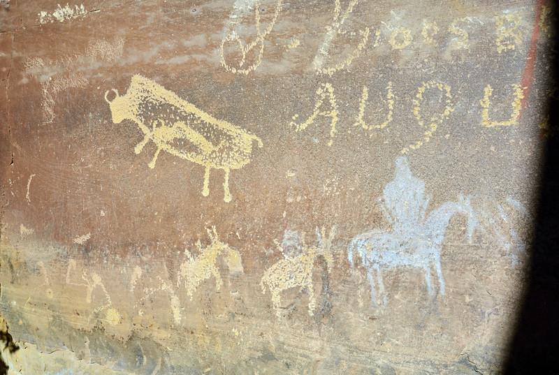 UT-NMC2017.10.7pm1.28#450- Petroglyphs & Pictographs. Nine Mile Canyon Utah.