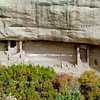 CO-MVNP2017.10.9-Fire Temple&House, #4.691. One of only two such ceremonial sites in Mesa Verde. Pueblo III period, 950 to 1300 CE. A mural like square pictograph is visable in the upper left corner inside the alcove. Mesa Verde Nat. Park Colorado.