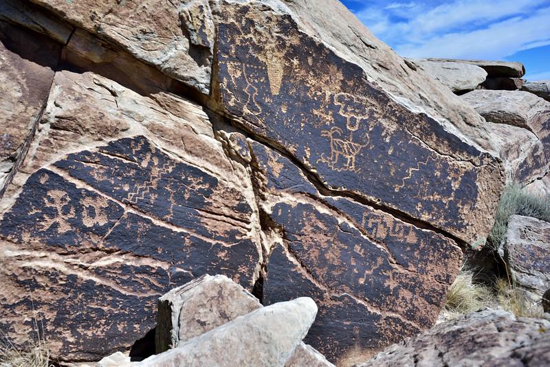 AZ-PFNP2017.10.11#958- Petroglyphs. Near Puerco Pueblo, Petrified Forest Nat. Park Arizona. 1250 A.D. to the late 1300's.