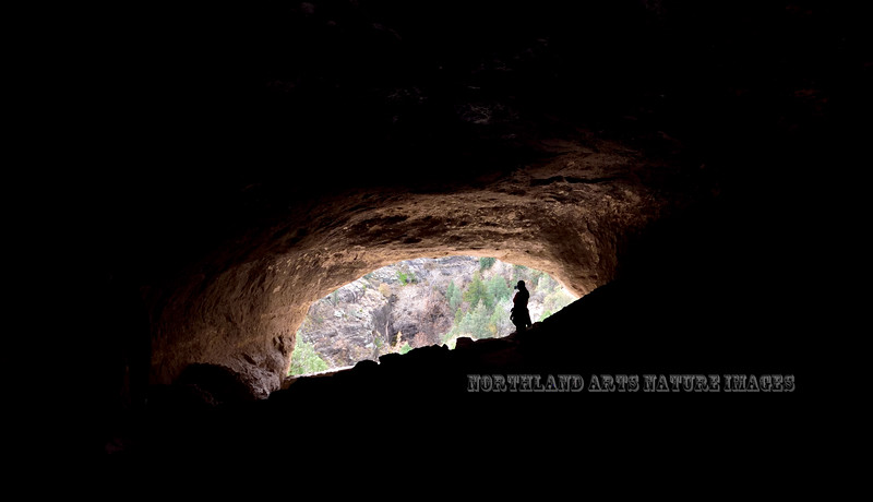 NM-GCD11-2019.11.9#3993.2. Another view  from the inside of a cliff dwelling looking down on Cliff Dwellers Canyon. Gila Wilderness, New Mexico.