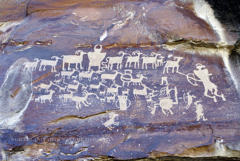 "UT-NMC2017.10.7pm1.44- The famous panel named the ""The Great Hunt "" . Fremont culture. Nine mile Canyon Utah."