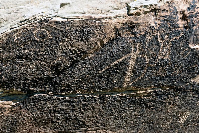 AZ-PFNP2017.10.11#1067-Petroglyphs. Near Puerco Pueblo. Petrified Forest Nat. Park Arizona.