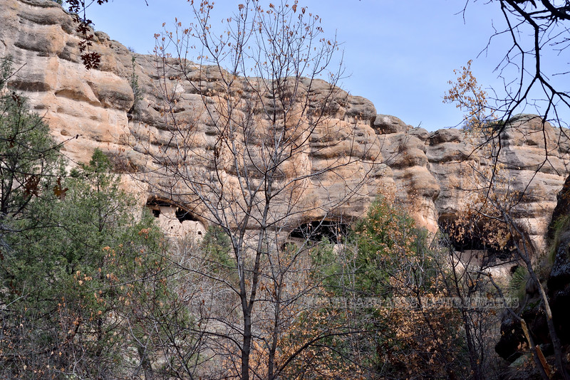 NM-GCD4-2019.11.9#2481.2.  First views of the dwellings from Cliff Dwellers Canyon. Gila Wilderness New Mexico.