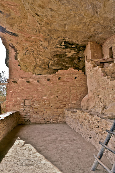 CO-MVNP2017.10.9-Balcony House3, #562. A faint Pictograph shows as a dark image with a light colored rectangular outline on the ceiling in the corner. Mesa Verde, Nat. Park, Colorado.