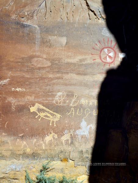 UT-NMC2017.10.7pm1.26#444- Petroglyph's & Pictograph's. Nine Mile Canyon Utah.