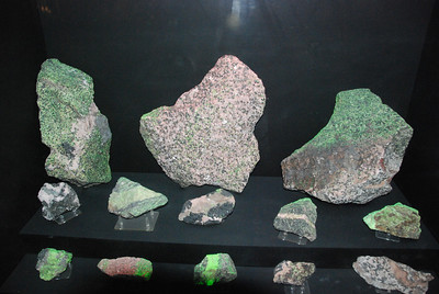 Fluorescent minerals under normal light Franklin, New Jersey