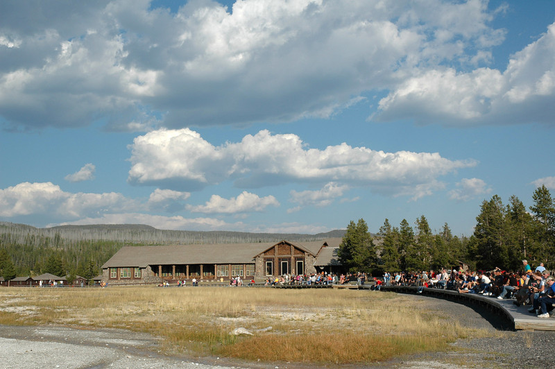 People waiting for Old Faithful to erupt