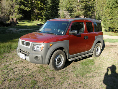 My Honda Element. 2004, stick shift. This area is in National Forest lands, so camping restrictions are fewer and roadside impromptu camps like this are allowed.