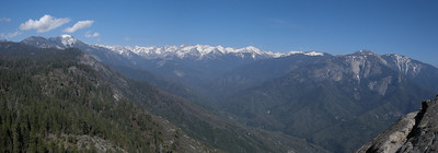 Panorama of the Great Western Divide as seen from the shoulder of Moro Rock, a prominent granite dome above the Middle Fork of the Kaweah River in Sequoia National Park.