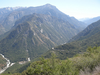 Middle and South Fork junction at left, and South Fork canyon trending to right, with Highway 180 going up the canyon.
