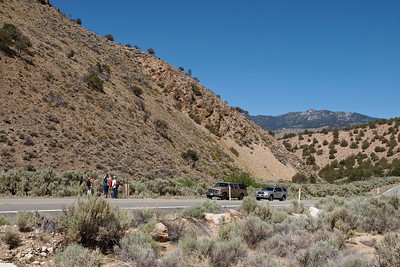 Landscape, people, and vehicles; Red Rock Canyon