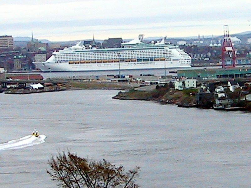 FIRST CRUISE SHIP (VOYAGER OF THE SEA) AS SEEN FROM REVERSING FALLS LOOK OUT