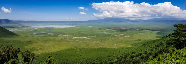 View from the rim into Ngorongoro Crater