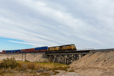 Finally caught the Union Pacific train going across the old Southern Pacific trestle.  I never knew it before but apparently an entire section of the old Southern Pacific tracks is underwater on the western side of the Salton Sea.