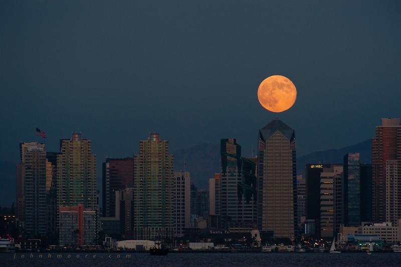 Moon over One America Plaza