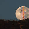 Moon sets behind the Mount Soledad Cross