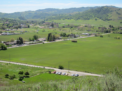 View across Almaden Valley from about halfway down the hill; MUTT MVR is among the vehicles parked below