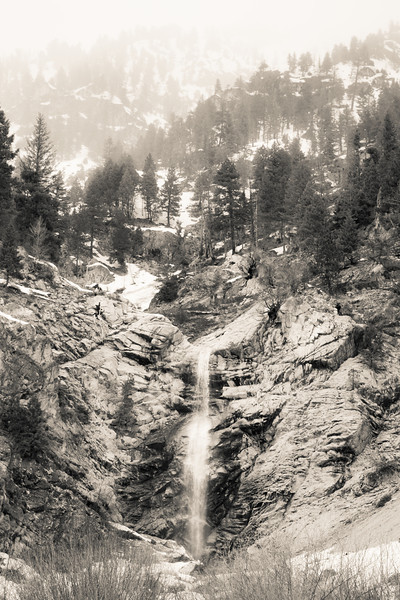 Snowing above the falls,  HWY 21, South Fork of Payette River, Idaho.
