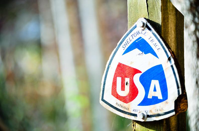 USA national recreation trail sign, Kentucky (USA)