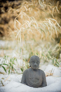Buddha in the snow, Woodstock, NY (USA)