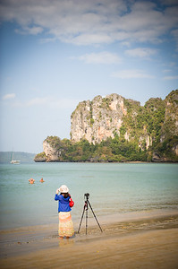 Photographer and tripod, Railey Beach, Thailand