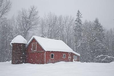 Blizzard and Barn, Twisp River, Methow Valley, Okanogan County, Washington