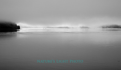 Tacoma Narrows, Light through Fog, B&W