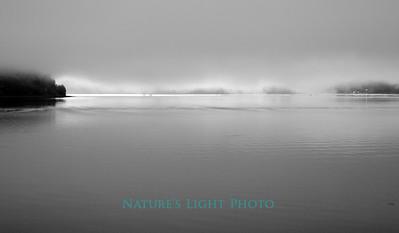 Tacoma Narrows, Light through Fog, B&W