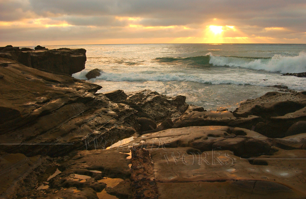 Surf and Reef Reflections in Sunset - Scripps Park, La Jolla, CA