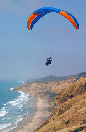 Paraglider over Torrey Pines, California