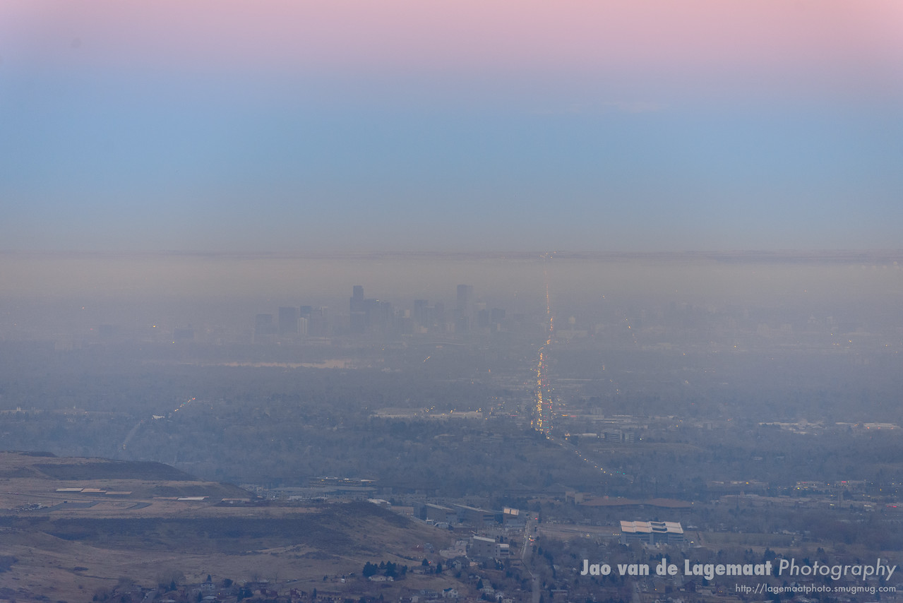 Denver evening smog colors