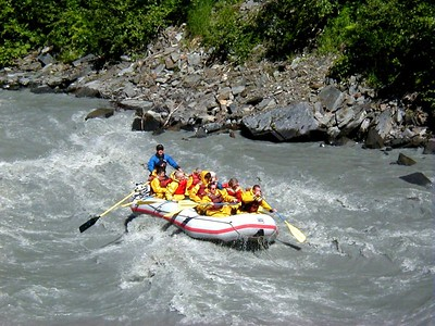 Rafters enjoying a bumpy ride down the Lowe River in Keystone Canyon near Valdez.
