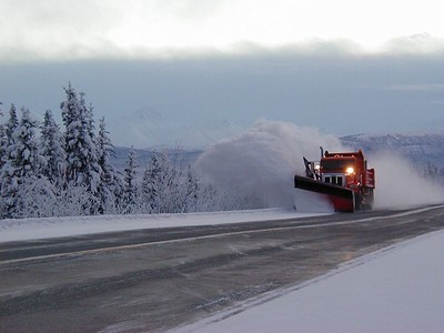 A frequently-seen sight along Alaska highways during the winter months.
