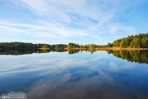 Lonely, still and dressed in the colors of fall. A lake north of Stockholm, Sweden.