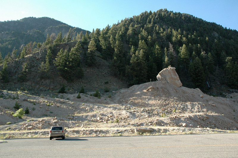 The landslide (caused by the 1959 earthquake) that dammed the Madison River and created Quake Lake (Montana)