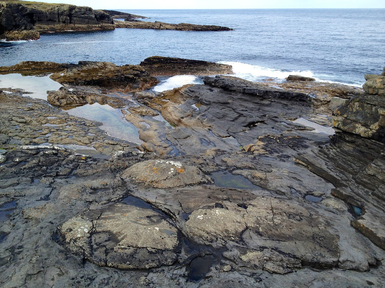 Sand volcanoes in the Ross Formation, near Bridges of Ross